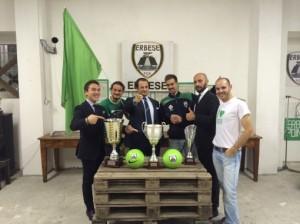 Dirigenza Erbese Calcio con i Trofei della Stagione